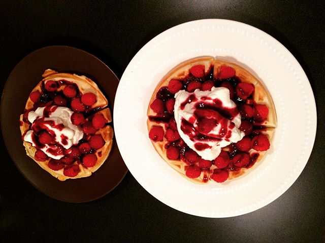 Raspberry waffles made by our daugther