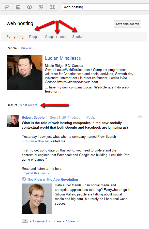 Google+ search – How to search posts, people and sparks – Lucian Web