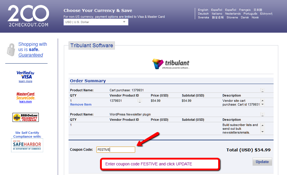 Tribulant 2Checkout pay with a credit card