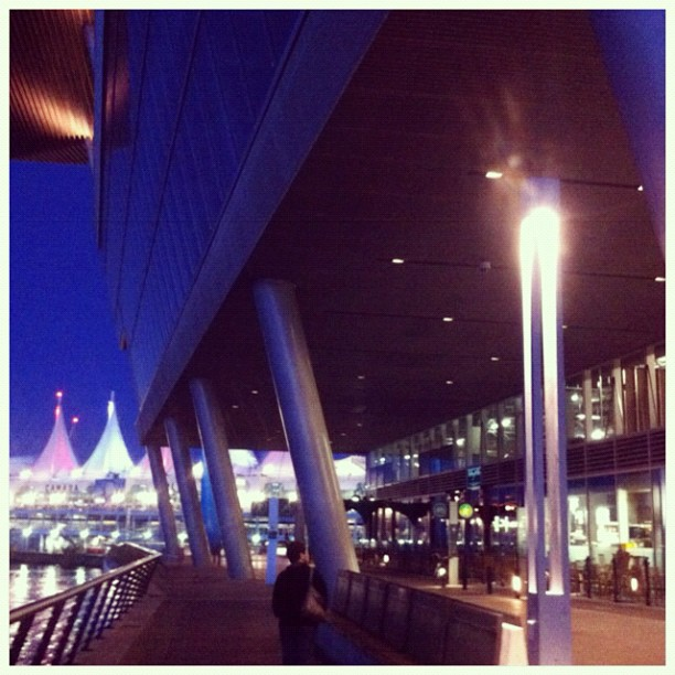 Corner of Vancouver Convention Center and Canada Place, at night