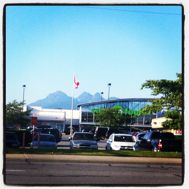 Mountains behind Save on Food store in Maple Ridge