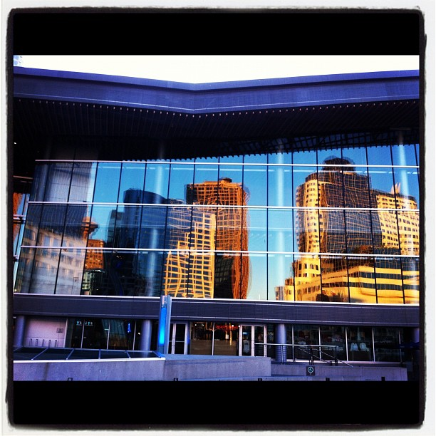 Building reflections in Vancouver Convention Center windows