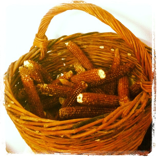 "Handmade rods basket with corn ""ciocalai"" (Romanian)"
