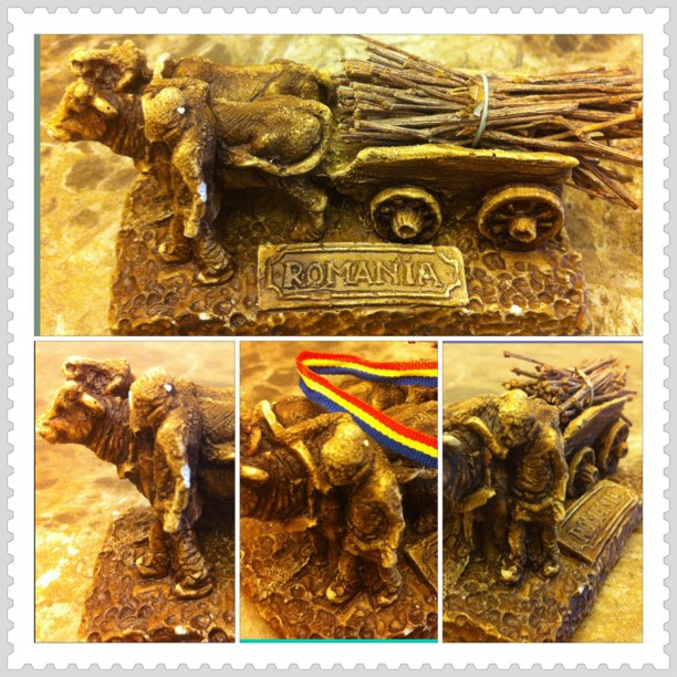 Bullock cart - Romanian handicraft illustrating the hard work of peasants in the past