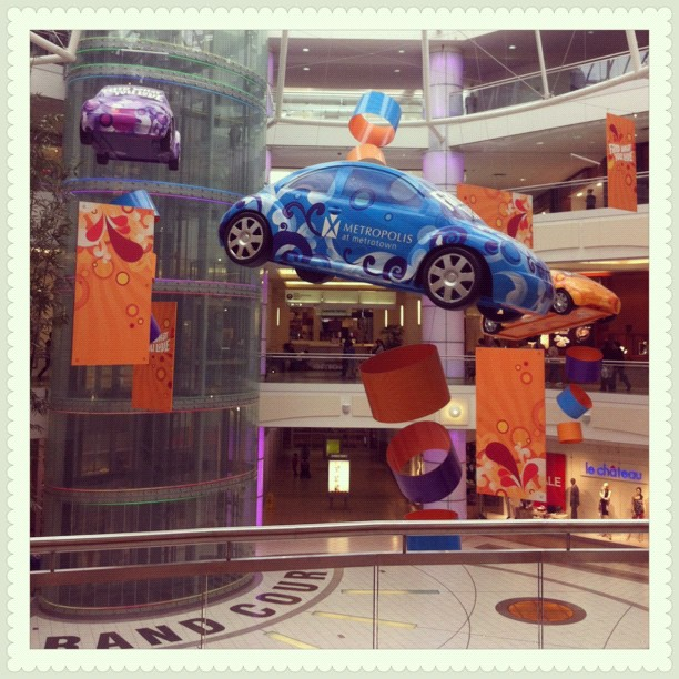 Floating cars in Metropolis at Metrotown, Burnaby