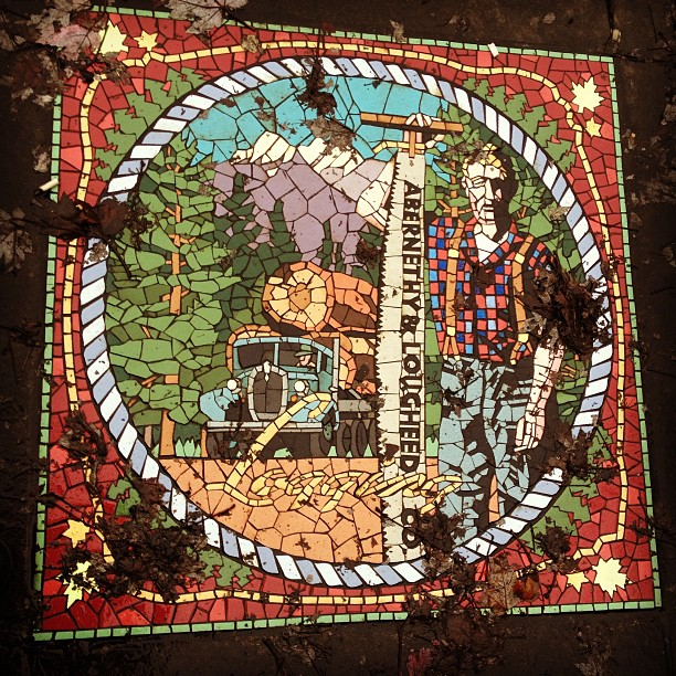 Historical Abernethy-Laugheed Logging Company mosaic pavement on 224th. Street in Maple Ridge