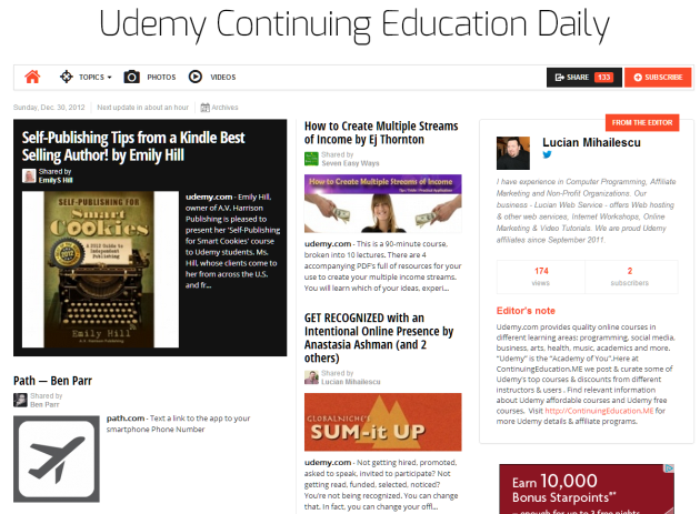 Our Udemy Continuing Education Daily Newspaper