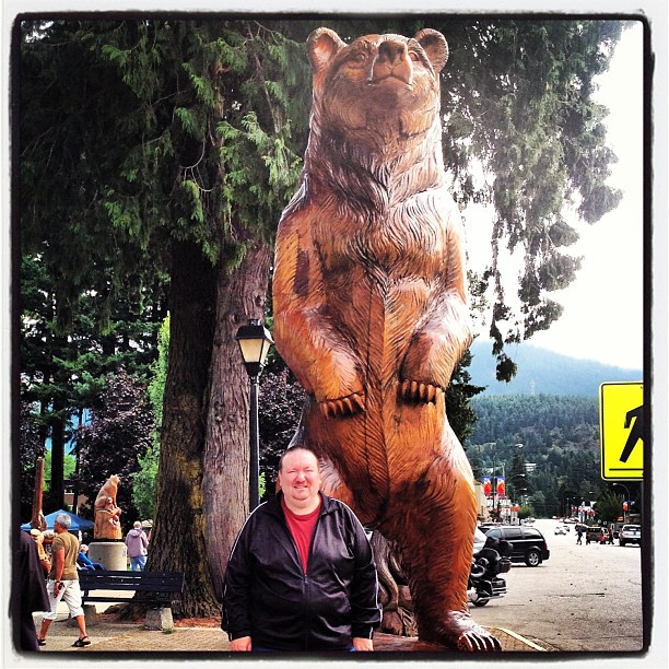Wood carved bear in Hope, BC