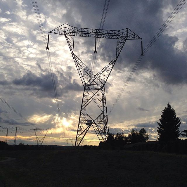Power lines in the sunset